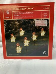 Holiday Time Light Up Glitter Penguin Pathway Markers Set of 6 per box. NEW !!!!