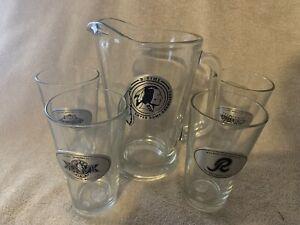 NFL super bowl 60 oz pitcher & 4 - 16oz glasses - redskins football set