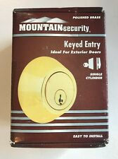 Mountain Security Deadbolt Single Cylinder, Polished Brass NEW