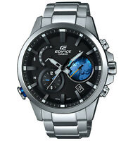 Casio Men Edifice Black Label BLUETOOTH TRAVELLER Black X Blue Watch EQB600D-1A2