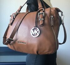 Michael Kors Saddle Brown Leather Essex Satchel Shoulder Handbag Crossbody Purse