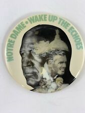 Vintage Collectible Notre Dame Fighting Irish Wake Up The Echoes Button Pin