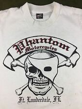 Vintage Youth M 14-16 80s 90s Phantom Motorcycle Florida Juniors White T-Shirt