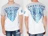American Fighter Men Short Sleeve T-Shirt MAYVILLE White Black Blue Foil $40 NWT