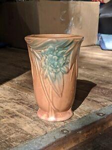 Vintage McCOY LEAVES & BERRIES 6 Inch Vase Nelson McCoy Rose Green Matte