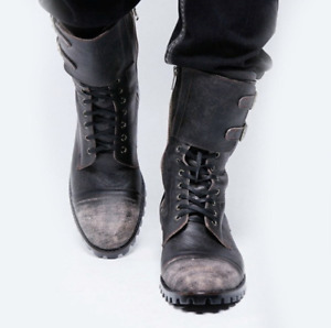 Mens Mid Calf Boots Outdoor Combat Boot Round Toe Lace-up Side Zip Shoes Durable