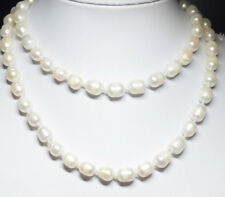 Natural rice pearls 10-11mm genuine natural white pearl necklace 35'' JN1191