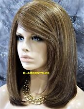Bob Layered Brown Golden Blonde Mix Full Lace Front Wig Heat Ok Hair Piece NWT