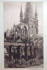 Gaston DEMAZY 1872-? Gravure Eau-forte CATHÉDRALE Saint MALO? Dédicace DAUTREY