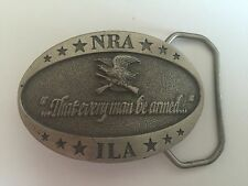 Nra Ila Pewter Belt Buckle - Made In Usa