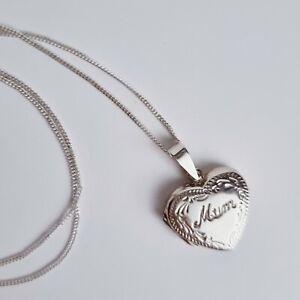"Tuscany Silver Sterling Silver Heart Engraved ""Mum"" Locket Pendant 46cm/18"""