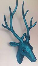 Cabeza de Ciervo Brillo Azul Cuernos Caza Trofeo Lujo Regalo 40 Cm