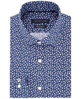 NEW TOMMY HILFIGER MIDNIGHT BLUE JADE FLORAL THFLEX SLIM FIT SUPIMA DRESS SHIRT