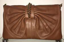 BALDININI Abendtasche Damen Tasche Clutch Bag Leder Leather Camel Beige NEU
