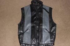 Mens 40 Vtg 80s 90s J WALDEN Leather Sleeveless Motorcycle Jacket Black Gray