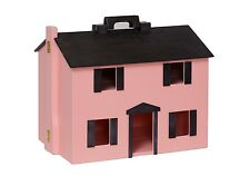 USA HANDMADE Folding Wood DOLLHOUSE wooden Doll Preschool Play Toy PINK