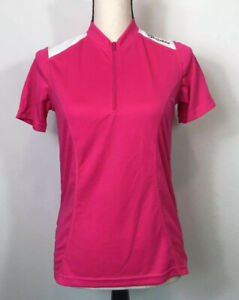 Canari Womens Mystic Cycling Jersey Panther Pink 1/4 Zip Short Sleeve S New