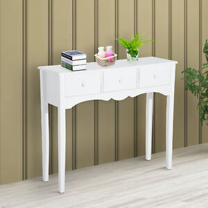 HOMCOM 3 Drawer Dressing Console Table with Storage - White