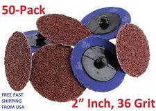 50Pc 36 Grit 2 inch Roloc Abrasive Sanding Discs