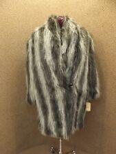 Topshop Cream Colour Block Faux Fur Coat Shaggy UK8//10 EU36//38 US4//6 BNWT