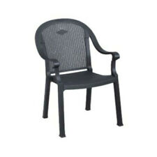 Grosfillex 99720002 Sumatra Charcoal Stacking Armchair (4 per case)