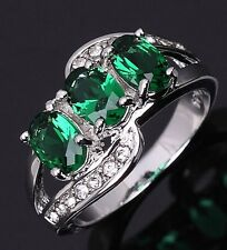 Glittering Size 9 Solitaire Emerald 18K Gold Filled Princess Cut Woman Rings