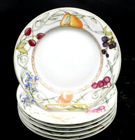 Dansk Umbrian Fruits * 6 DINNER PLATES * Colorful Fruit Design, EXC!