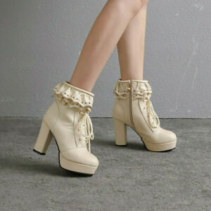 Sweet Women Ruffles High Heels Lace Up Side Zipper Ankle Boot Party Shoes Lolita