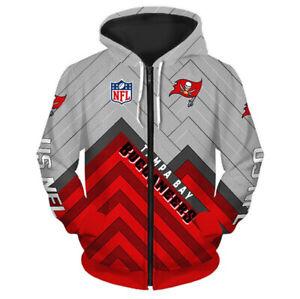 Tampa Bay Buccaneers Hoodie Zipper Sweatshirt Casual Hooded Sports Jacket Gifts