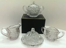 EAPG CRYSTAL CHILD'S TOY 4 PC TABLE SETTING SWEETHEART CAMBRIDGE GLASS ca1910