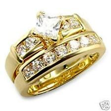 18K GOLD EP 2.8CT SIMULATED DIAMOND WEDDING SET size 10 or T 1/2