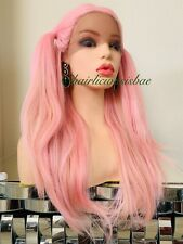 light pink Wig Ombré Straight Four Part Lace Front Heat Ok 20 Inch Long Wigs
