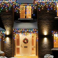 120 MULTI COLOUR LED CHRISTMAS CHASING ICICLE OUTDOOR GARDEN LIGHTS DECORATION