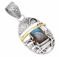 Labradorite Two Tone Gemstone Pendant Solid 925 Silver Brass Jewelry IP29186