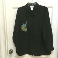 Susan Graver black Shirt with Peacock embroidery 1X button front Tunic