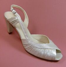 Sacha Ladies Metallic Off-white Ivory Leather Peeptoe Shoes Size 6 EU 39