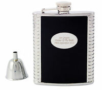 Personalised Engraved Black Leather, Steel 6oz Hip Flask,Funnel+Gift Box-