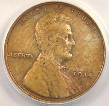 1914-D Lincoln Wheat Cent 1C - ANACS AU50 Details - Rare Key Date Penny