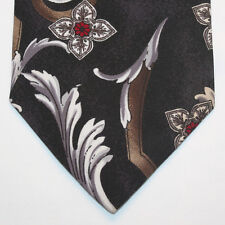 NEW Town Craft Silk Neck Tie Black with White Gray and Burgundy Florals 718