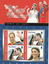 Antigua & Barbuda 2011 MNH Royal Wedding 4v M/S II Prince William Kate Middleton