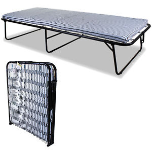 Single Metal Folding Guest Bed Visitor Compact Fold Out w/ Comfort Foam Mattress