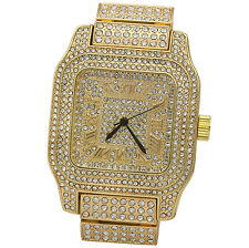 Mens CZ Fully Iced out Gold Plated Metal Gold Square Face Hip Hop Wrist Watches