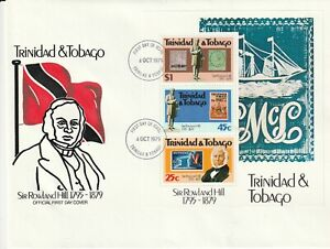 TRINIDAD & TOBAGO 1979 ROWLAND HILL CENTENARY MINIATURE SHEET ON FIRST DAY COVER