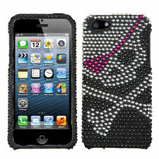 For iPhone 5 5S SE Crystal Diamond BLING Hard Case Snap Phone Cover Skull