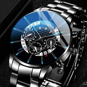 Fashion Men Watches Stainless Steel Watch Black Mesh Belt Analog Quartz Wrist