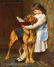 Naughty Boy by Briton Riviere Art Little Girl Big Dog Education  8x10 Print 0721