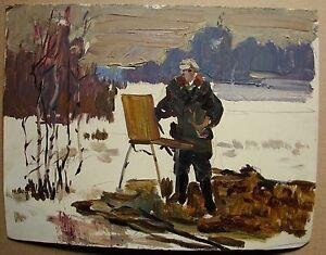 Russian Ukrainian Soviet Oil Painting portrait artis winter impressionism birch