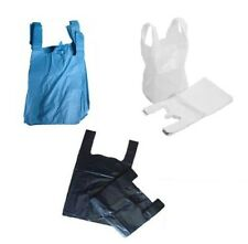 More details for plastic carrier bags medium style bags blue/white/ black 11x17x21