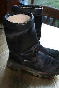 apres ski boots. italian made. oscar sport. black seal skin used size uk 10/11