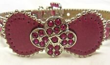 BB SIMON FUSCHIA LEATHER DOG COLLAR- FUSCHIA SWAROVSKI STONES --LARGE